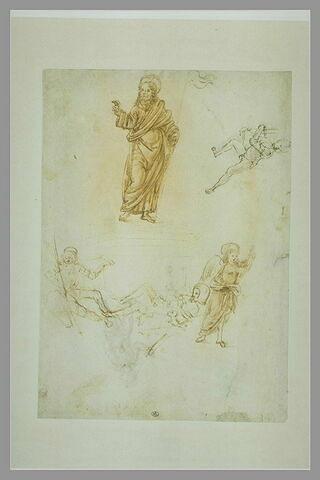 Résurrection du Christ ; un ange ; enfant nu courant vers la gauche