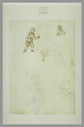 Deux études pour un petit saint Jean et reprise de son bras droit ; buste de jeune homme ; enfant vu en buste ; plusieurs essais de plume