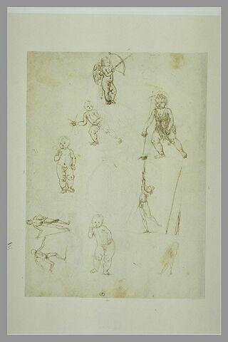 Cupidon ; le petit saint Jean ; putto ; deux études pour l'Enfant Jésus bénissant ; deux études de jeune homme d'armes ; homme nu courant ; profil de jeune homme en buste