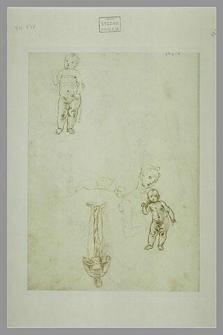 Deux enfants ; la Vierge à l'Enfant ; un moine debout