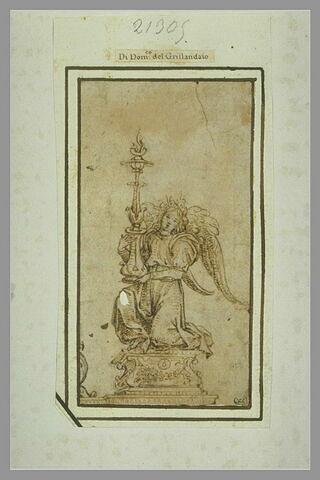Un ange à genoux tenant un candélabre