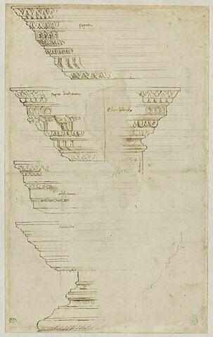Bases, architraves et corniches d'ordre corinthien