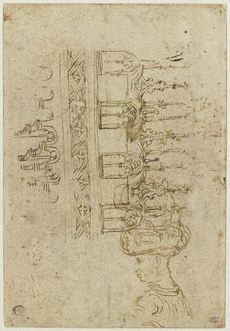 Loggia en encorbellement ; plan d'une voûte ; portrait de Niccolo III d'Este