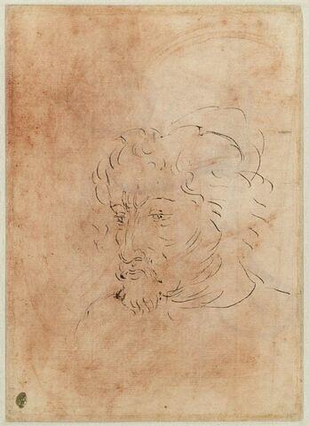 Tête d'homme barbu, de trois quarts, vers la gauche
