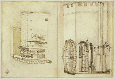 Moulin d'eau morte actionnant une meule et une pompe à eau