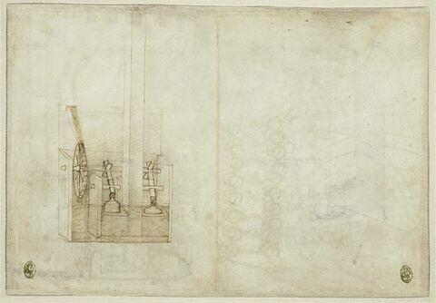 Un moulin actionnant deux marteaux ; un prêtre grec ; un évêque, en buste