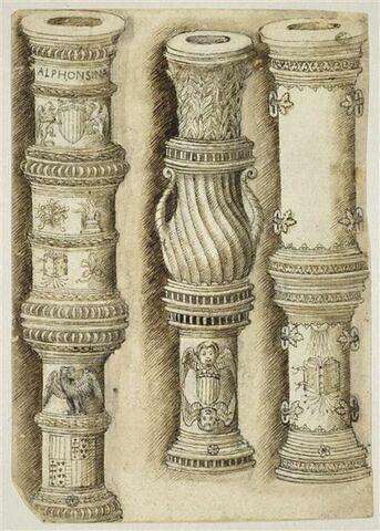 Trois pièces de canon aux armes et aux emblèmes d'Alphonse V d'Aragon