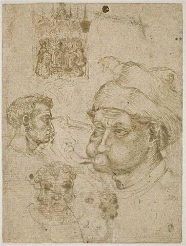 Quatre têtes d'hommes dont deux à trois visages ; un retable ; un cheval
