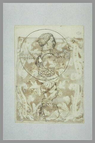 Deux études pour le droit d'une médaille d'Alphonse V d'Aragon