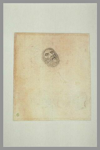 Buste d'homme barbu, la tête coiffée d'un turban et renversée en arrière