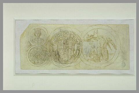 Quatre médaillons à l'effigie et aux armes d'Alphonse V d'Aragon