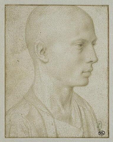 Etude d'un buste de jeune garçon à tête rasée