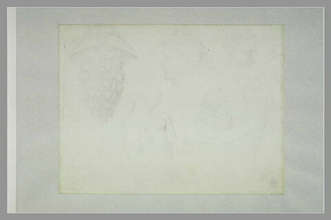 Tête d'un pèlerin et d'un homme ; deux femmes et un enfant ; tête d'enfant