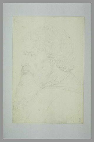 Homme barbu, vu en buste, de trois quarts vers la gauche