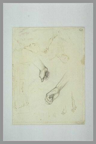 Etudes d'un Christ en croix, de ses deux mains ; esquisse d'un gibet