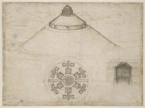 Tombeau à plan central : élévation, plan, détail d'une chambre funéraire