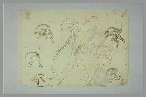 Sept singes assis, dans des attitudes différentes ; un paon de profil