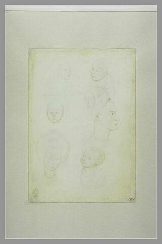 Quatre têtes d'enfant et de deux têtes de femmes