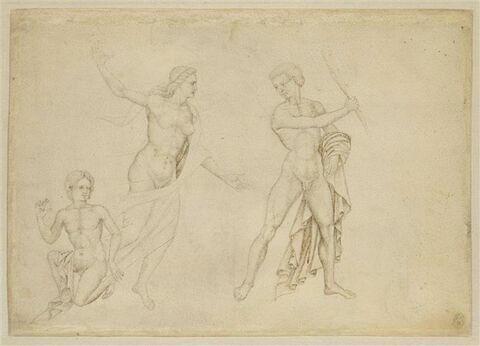 Jeune homme nu agenouillé, femme à demi drapée et un homme nu armé