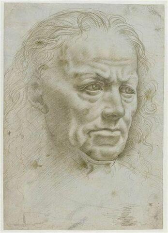 Portrait d'homme de trois quarts à droite ; profil ; gribouillage