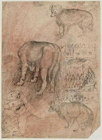Sept chiens ; esquisse de scène d'audience pontificale