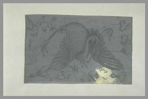 Un échassier ; une tête de cygne ; neuf fleurs et une feuille