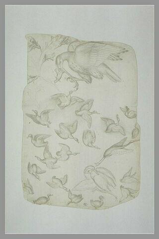 Deux tiges fleuries, aigle ?, canards, grue ?, faucon saisissant un héron ?