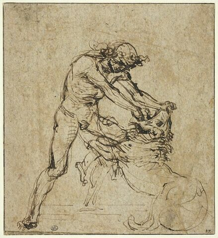 Hercule terrassant le lion de Némée