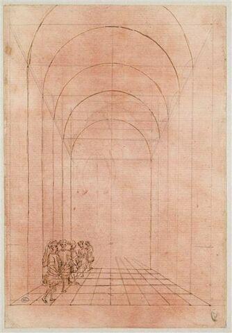 Cinq hommes debout dans une architecture voutée en perspective