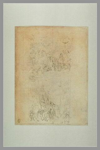 Saint Jean-Baptiste prêchant  ; une dame, un chevalier et ses écuyers