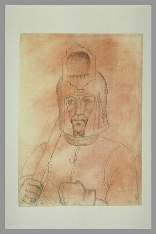 Soldat, vu en buste, tenant une lance, coiffé d'un casque à la visière levée