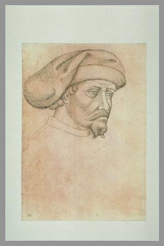 Tête d'homme barbu, de trois-quarts vers la droite, coiffé d'un mazzocchio