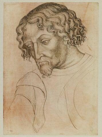 Buste d'homme barbu, la tête de trois-quarts penchée vers la gauche