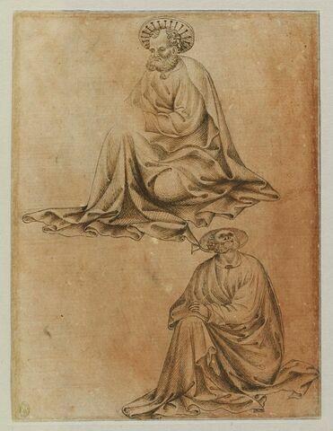 Deux évangélistes (?) assis, assis de trois quarts vers la gauche