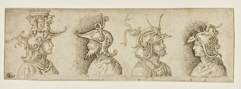 Quatre Capitaines, vêtus à l'antique, vus en buste et de profil