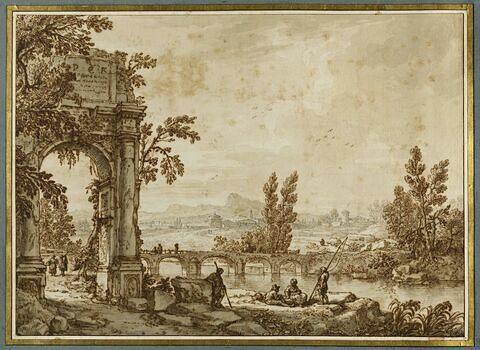 Paysage fluvial avec ruines et personnages