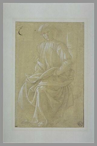 Homme coiffé d'un turban, drapé, assis, de trois quarts vers la gauche