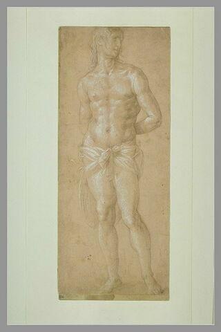 Homme nu, debout, les mains attachées derrière le dos : saint Sébastien