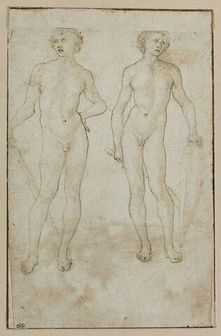 Deux hommes nus, débout, tenant une massue et un bouclier