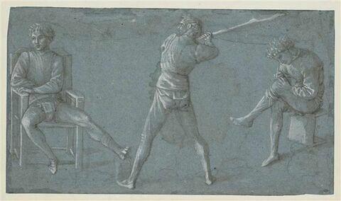 Etudes de deux hommes assis, d'un autre debout, brandissant un bâton