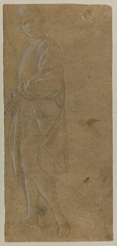 Jeune homme debout et drapé de profil, sa tête de face