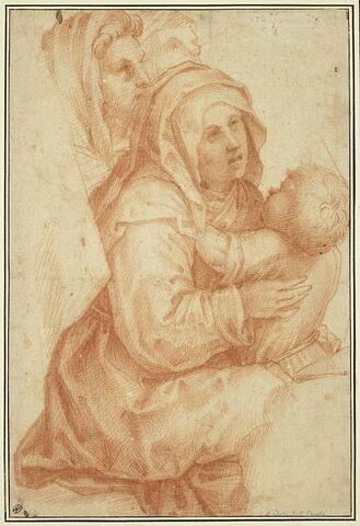 Deux femmes, un enfant et autre personnage : quatre assistants