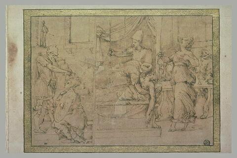 Femme à genoux devant un guerrier ; deux épisodes de l'histoire de Lucrèce