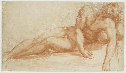 Homme nu couché, vu de face, les bras pendant en avant: Christ mort