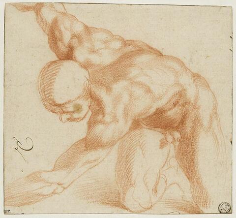 Homme nu, agenouillé, la tête baissée, le bras droit levé