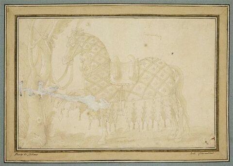 Cheval richement harnaché, attaché à un arbre, de profil vers la gauche