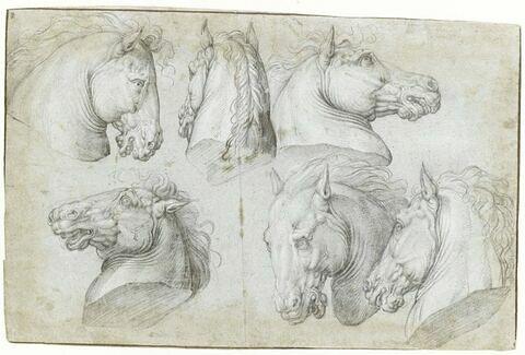 Etudes de six têtes de chevaux
