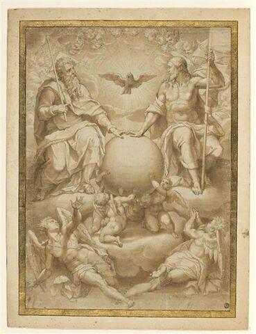 La Sainte Trinité dans les nuées parmi les anges, autour du globe