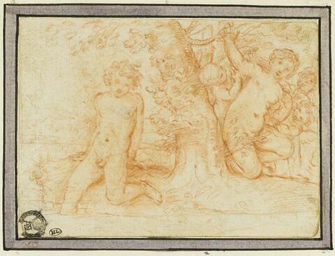 Nymphe entourée d'amours regarde un jeune homme nu entrant dans l'eau