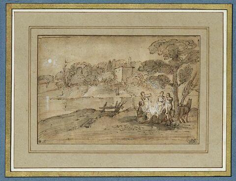 Paysage avec un cheval et plusieurs figures auprès d'un feu, sous un arbre